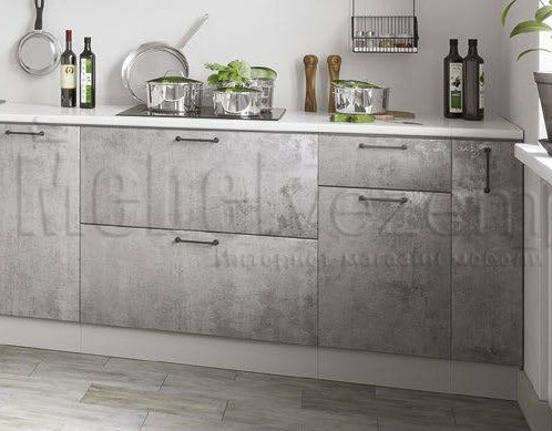 кухня бетон серый